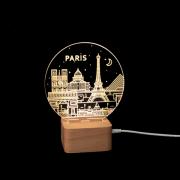 跨境爆款台灯简约榉木3D小夜灯LED床头灯USB供电夜灯