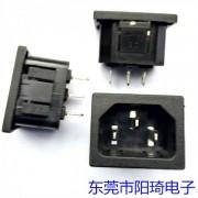 卡式4.8端子AC电源插座-电脑专用品字型插座-三芯公座