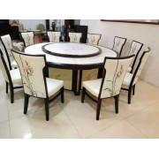 电动餐桌 自动转盘大圆桌 新中式实木电动餐桌 餐椅