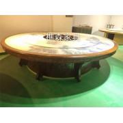工厂直供 新中式电动餐桌 自动转盘餐桌 酒店电动圆桌 火锅桌